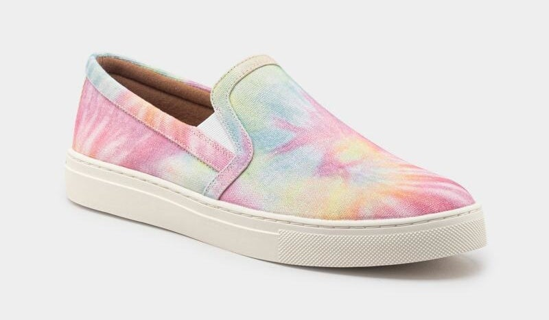 pink, yellow, and green tie-dye slip on sneakers