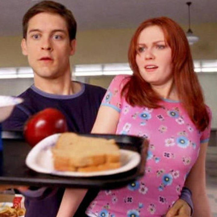 """Actors Tobey McGuire and Kirsten Dunst as their characters Peter Parker and Mary-Jane in """"Spider-Man."""""""