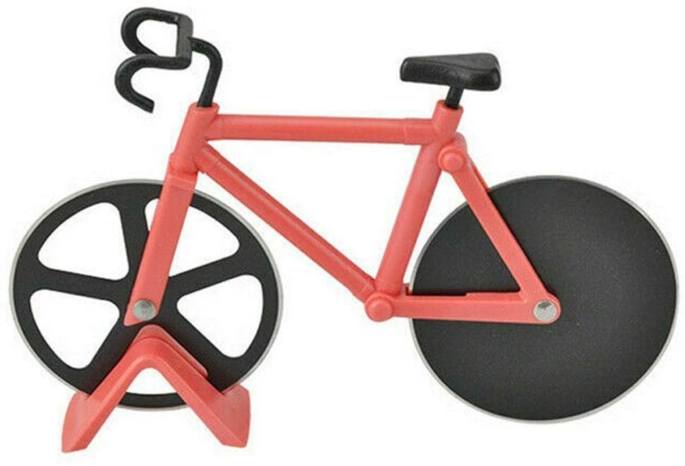 A bicycle with wheels that act as pizzacutters