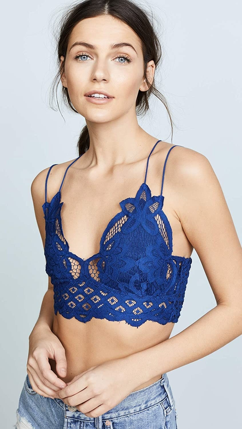 model wearing the royal blue bralette