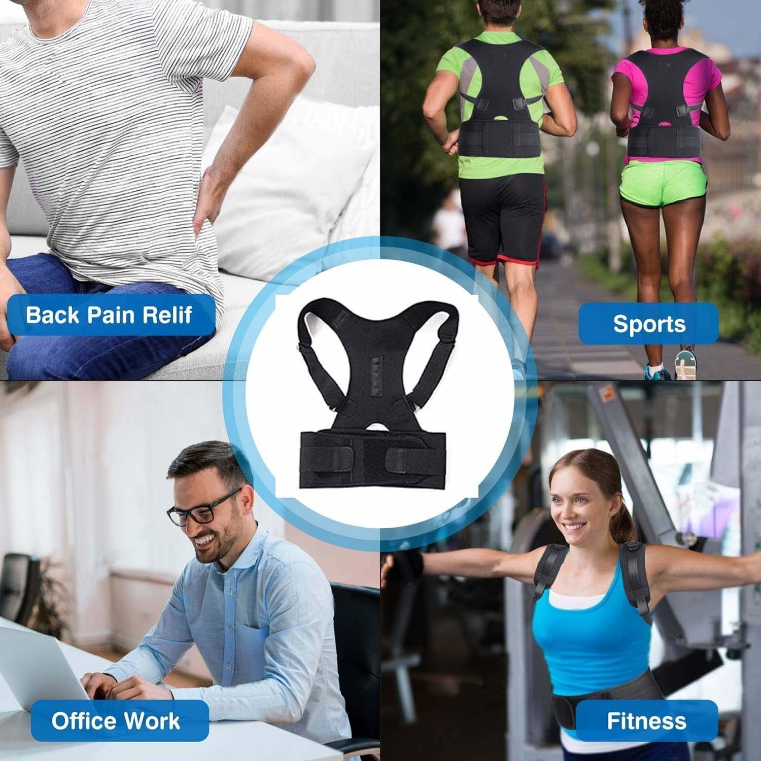 A collage of different people wearing the posture correcter in multiple situations such as while sitting in front of a laptop, and while jogging and working out