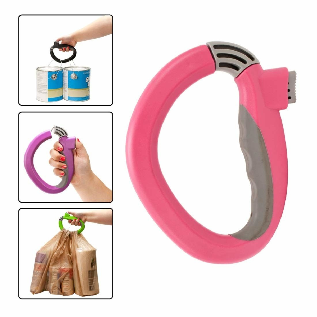 A collage of the bag holder being used to lift multiple things at once such as three bags of groceries and two cans of paint