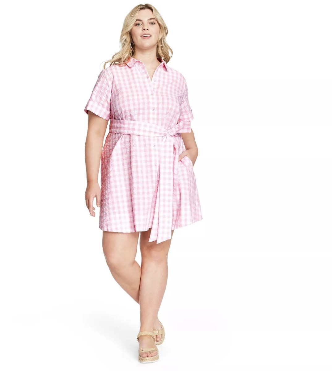 Model wearing the pink and white gingham dress