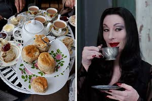 """On the left, people sit around a table with a teapot, cups of tea, and scones, and on the right, Anjelica Huston drinks tea out of a metal teacup as Morticia Addams in """"The Addams Family"""""""