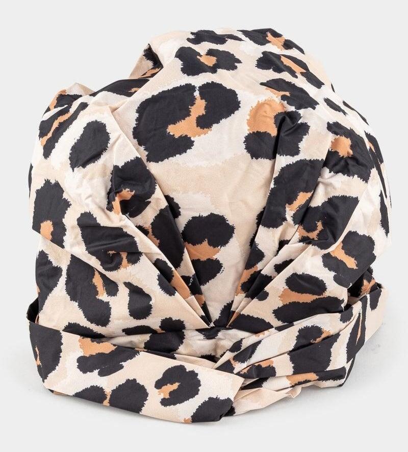 leopard print shower cap