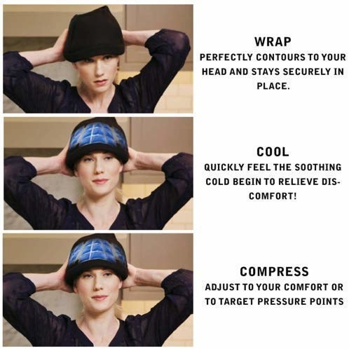 A collage of a woman wearing the hat and its features listed