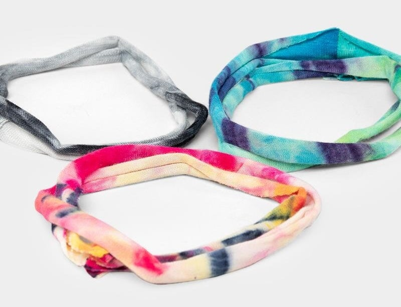 tie-dye bands in three different color schemes