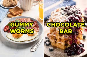 """On the left, a plate of eggs and bacon with """"gummy worms"""" typed on top of it, and on the right, a stack of waffles with blueberries and powdered sugar on top with """"chocolate bar"""" typed on top of it"""