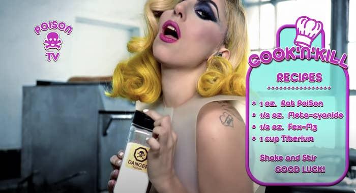 Lady Gaga holding poison