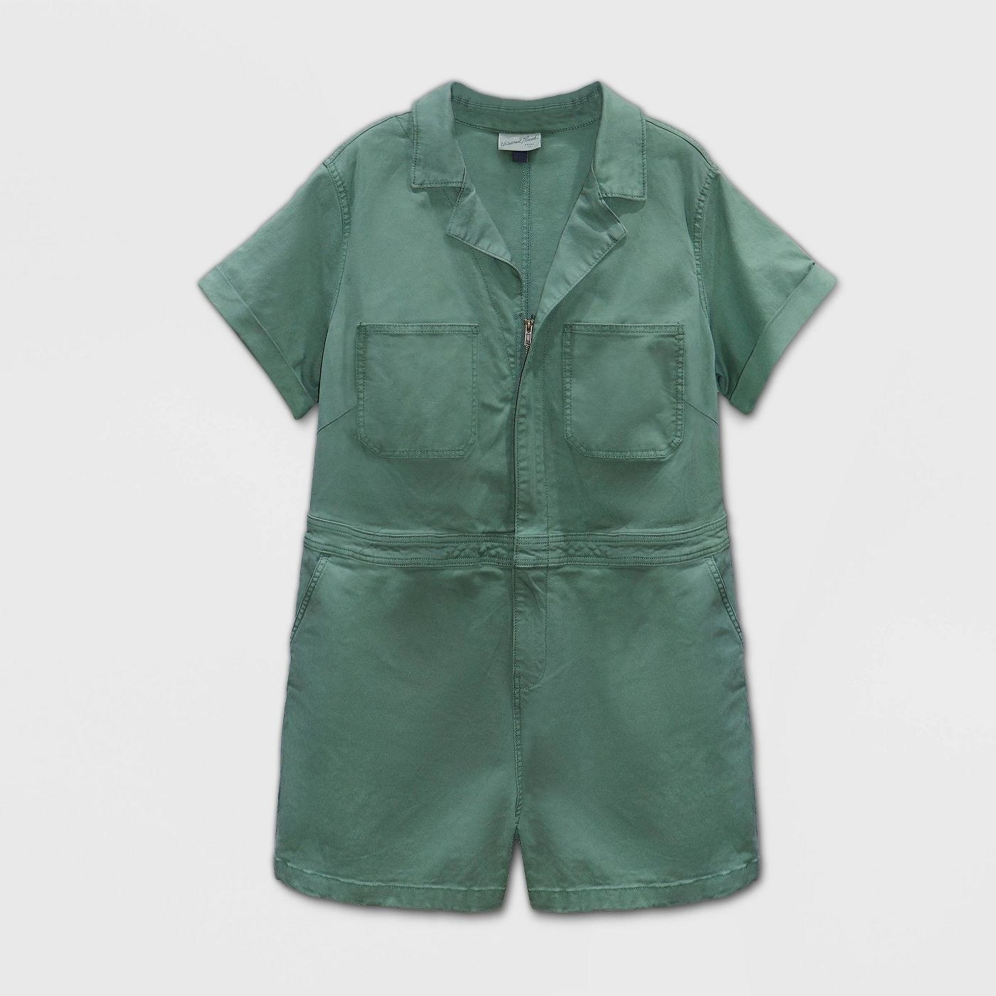 A short-sleeved zippered jumpsuit in green