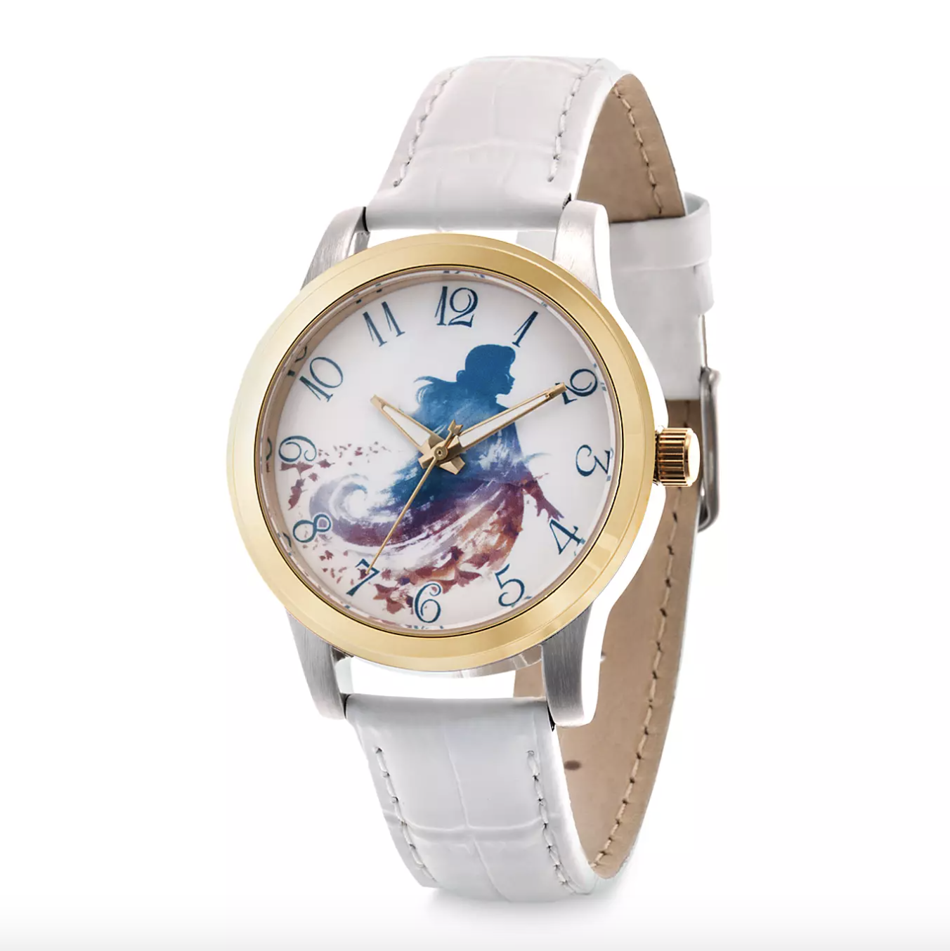The watch, which has a silver and gold alloy case, a blue Anna illustration on the dial, white leather band, quartz movement, and mineral crystal minute and hour hands
