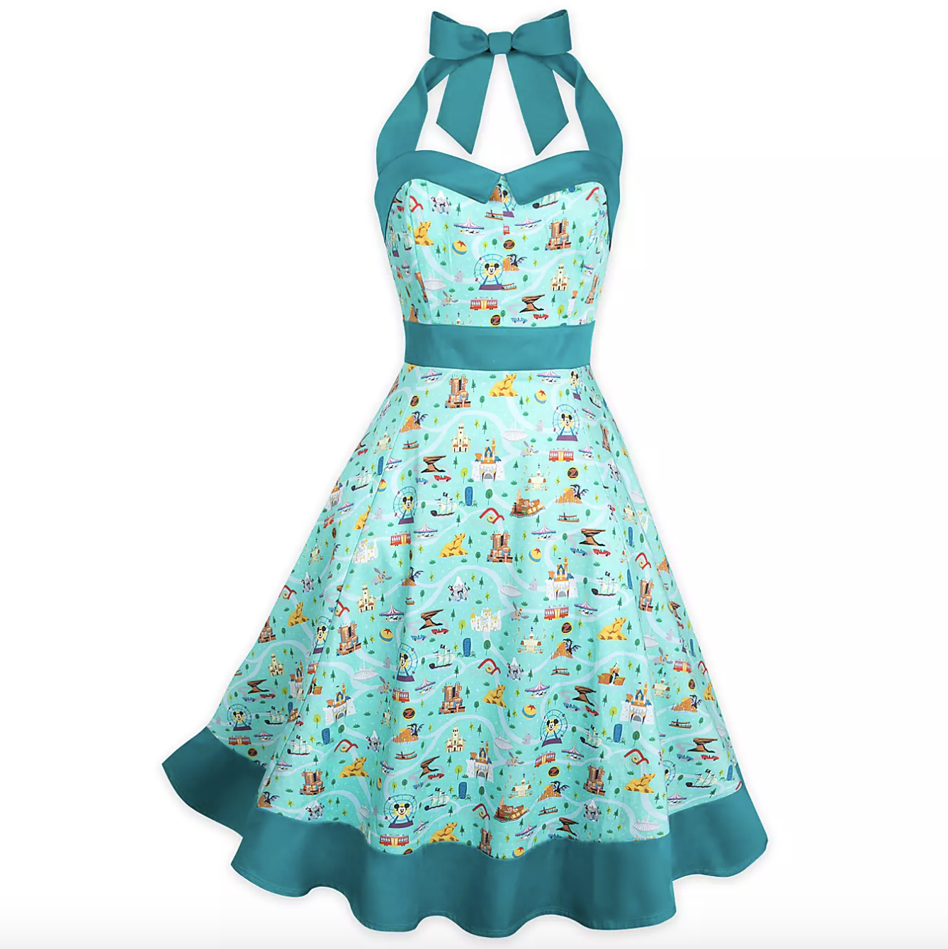 the dress, which is bright turquoise and has pockets and smocked panels