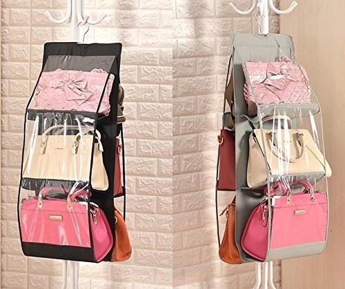 Six bags hanging on the organiser.