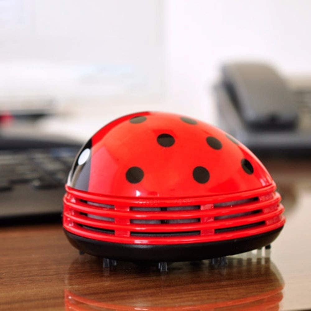 A tiny rounded plastic vacuum in the shape of lady bug There are little bristles sticking out on the bottom