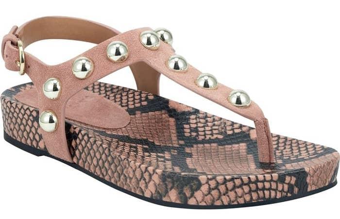 Marc Fisher studded indie sandal in malva suede snakeskin colorway