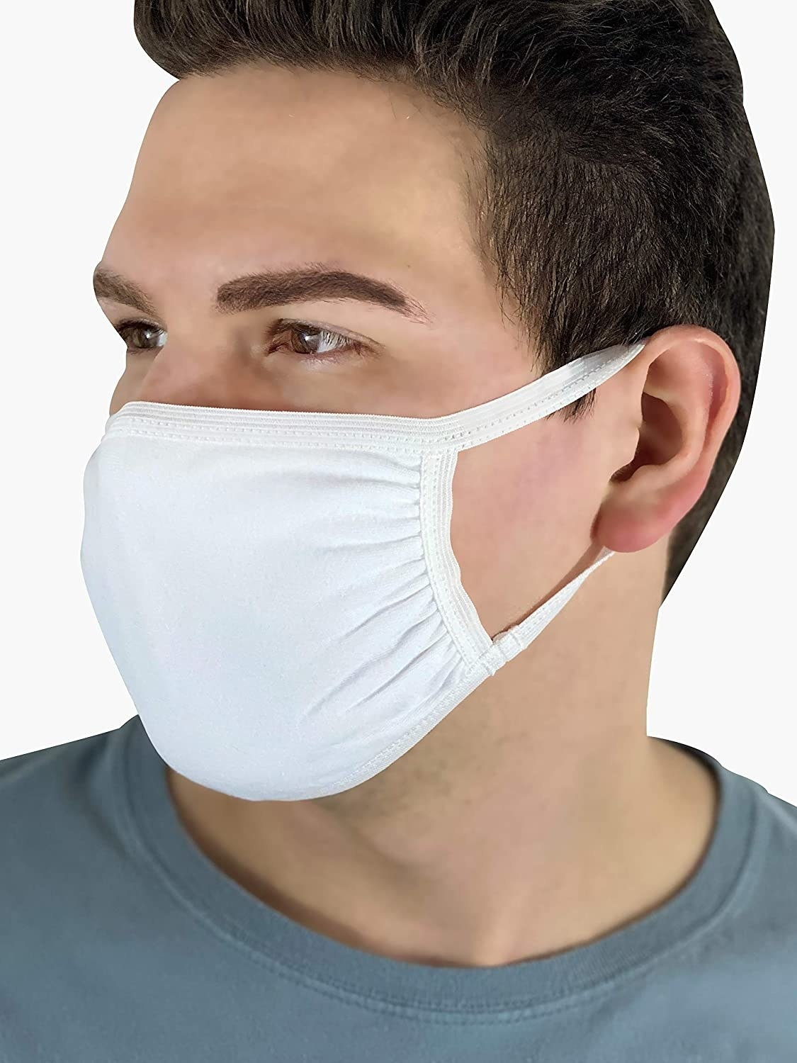 Model wearing the white mask