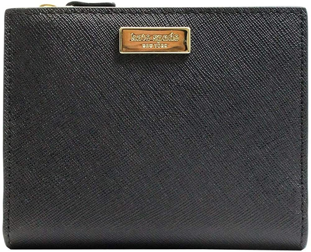 The black leather wallet with gold Kate Spade logo
