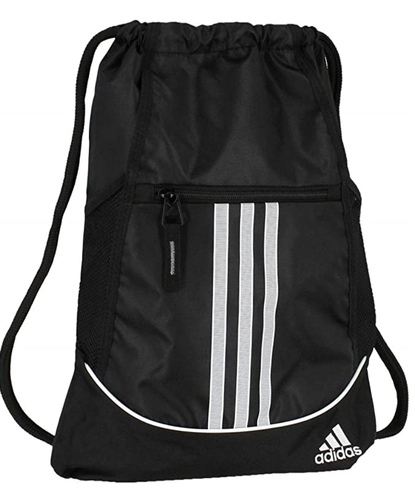 A black Adidas bag with three vertical stripes on the front pocket