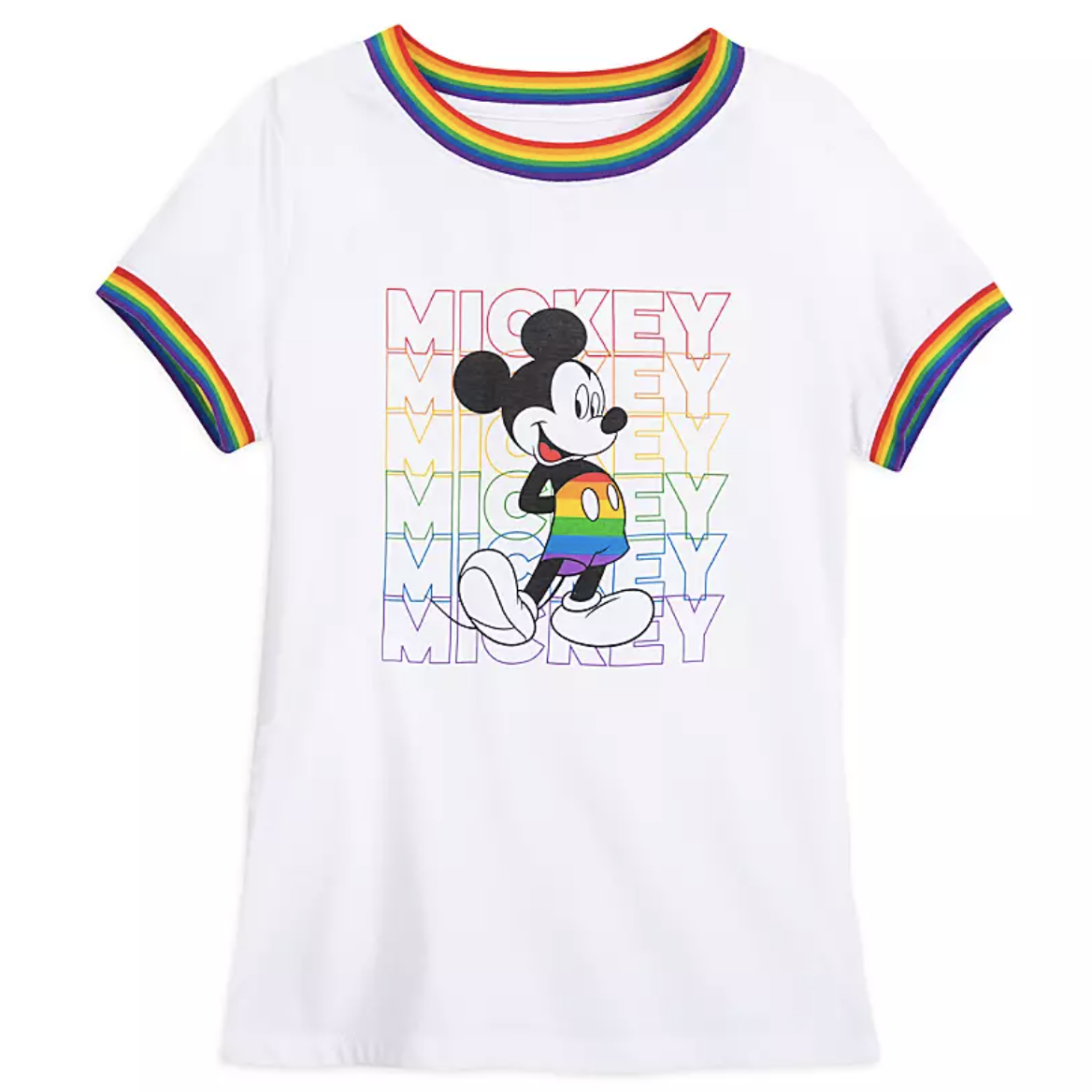 "a white t-shirt with rainbow stripes on the edges of the sleeves and around the collar in addition to mickey wearing rainbow pants and ""mickey"" written six times in rainbow colors"