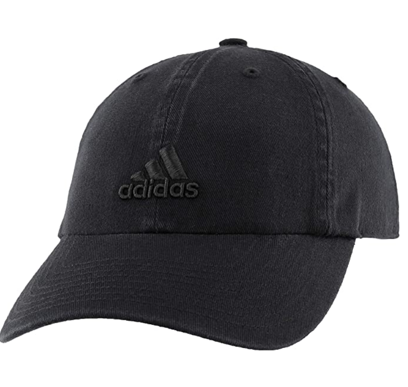 A black hat with a black embroidered Adidas logo