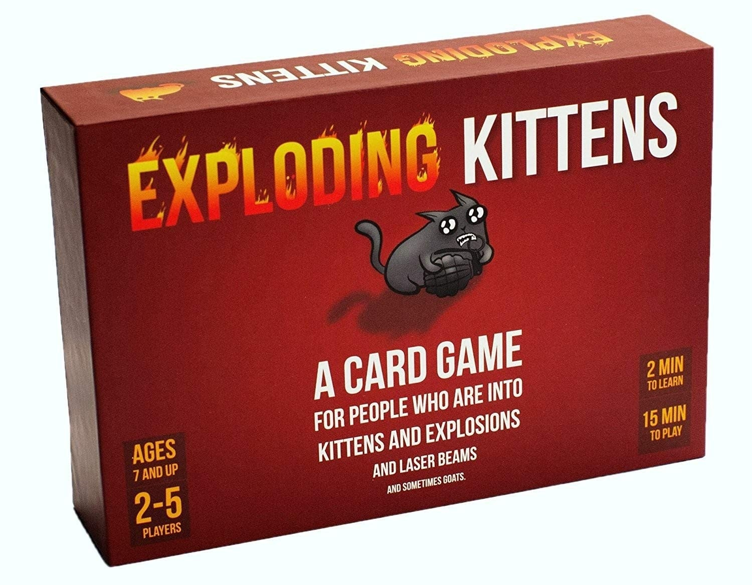 Exploding Kittens board game box with kitten on front