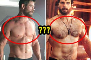 Thor with a smooth chest next to Superman with a hairy chest