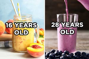 "On the left, a peach smoothie in a mason jar with two paper straws and ""16 years old"" typed on top of it, and on the right, a blueberry smoothie being poured into a tall class with ""28 years old typed on top"""