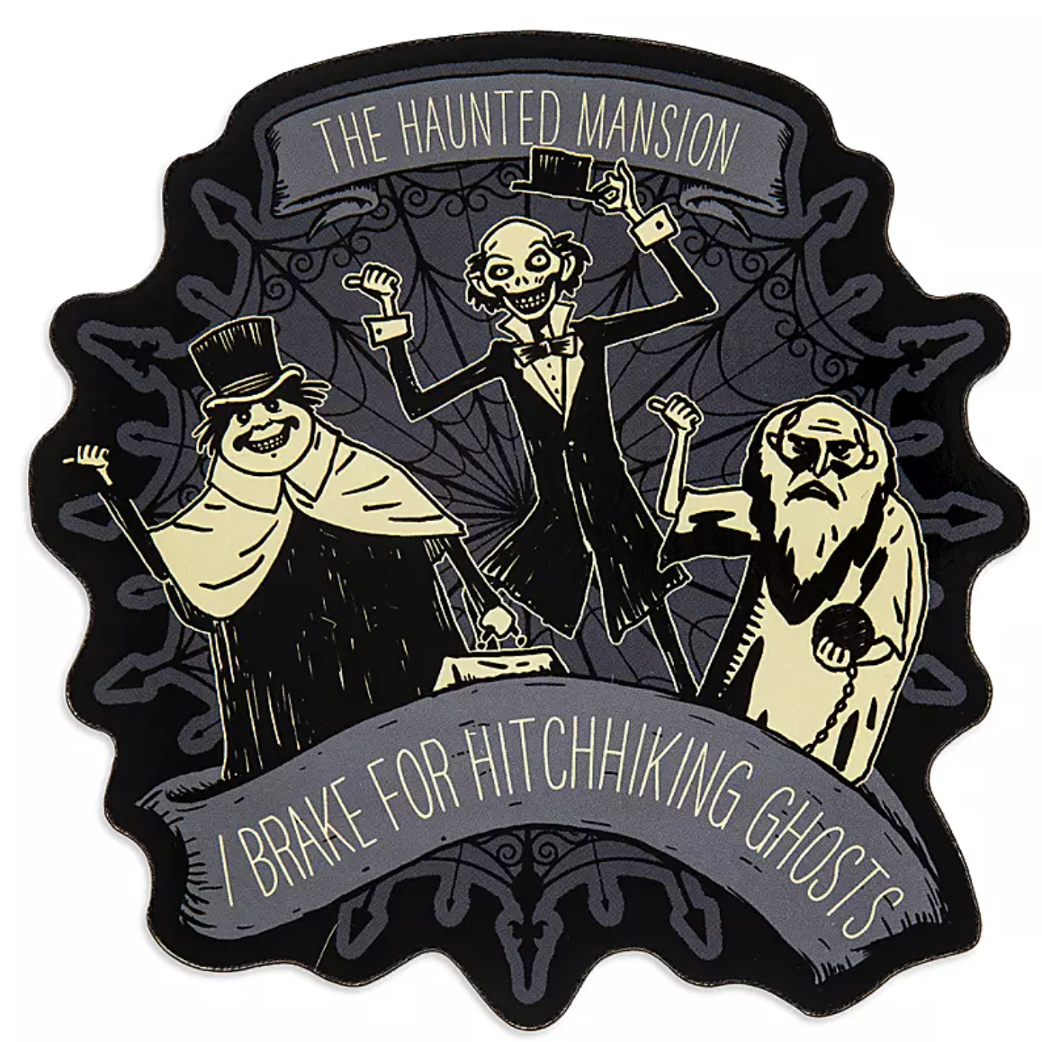 "a black and grey car magnet with the three haunted mansion ghosts on it and the words ""I break for hitchhiking ghosts"""
