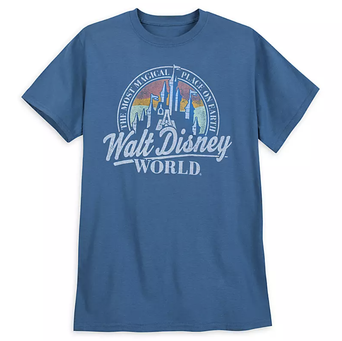 "a darker blue t-shirt that has the castle on it over a red orange and yellow semi circle and the words ""the most magical place on earth""a round it with ""walt disney world"" written over it"