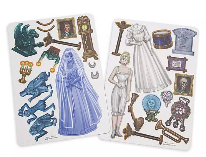 two sheets of magnets including an array of recognizable items from the haunted mansion ride