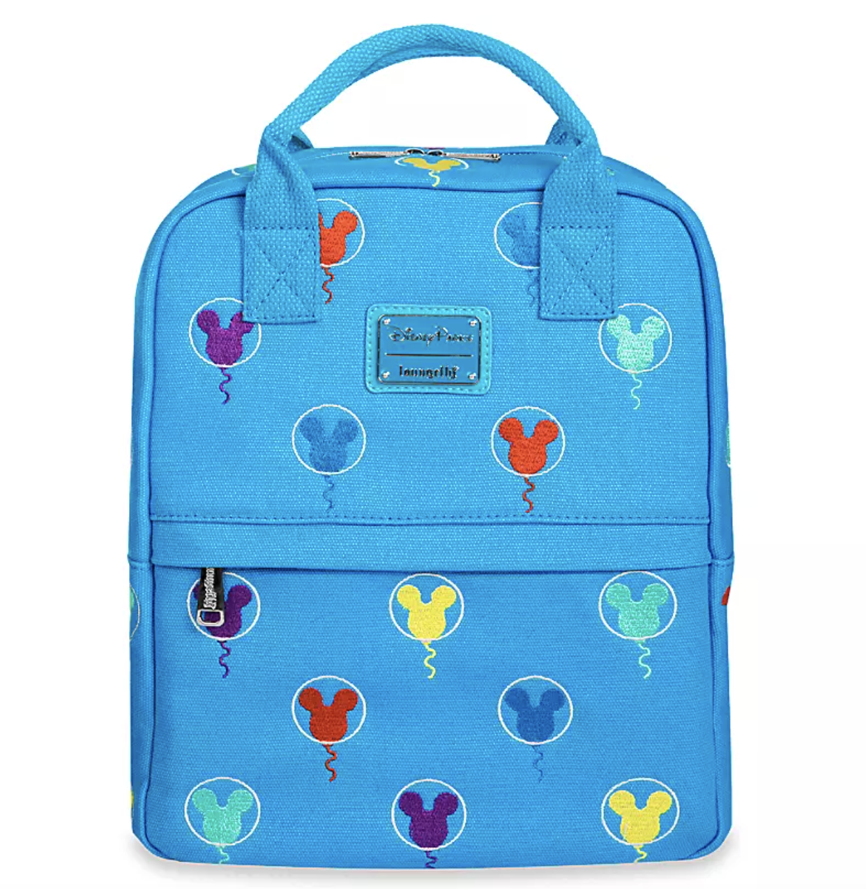 a blue rectangular back pack with embroidered mickey balloons