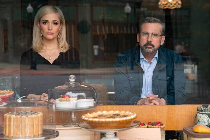Rose Byrne and Steve Carell sit inside of a pie shop.