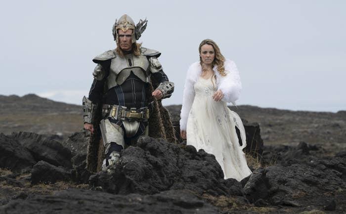 Will Ferrell and Rachel McAdams in elaborate costunes.