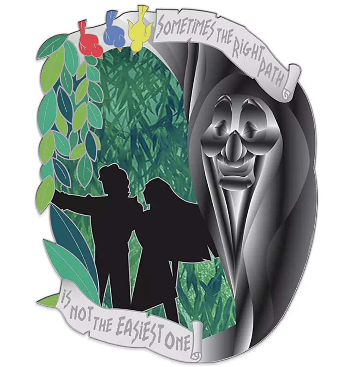 "an enamel pin with the words ""sometimes the right path is not the easiest one"" with illustrations of pocahontas, john smith, and grandmother willow"
