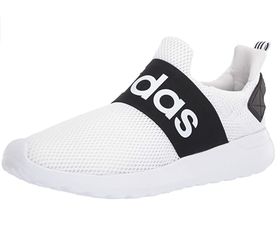 A white mesh pull-on shoe with a black band around the top of the foot that says Adidas