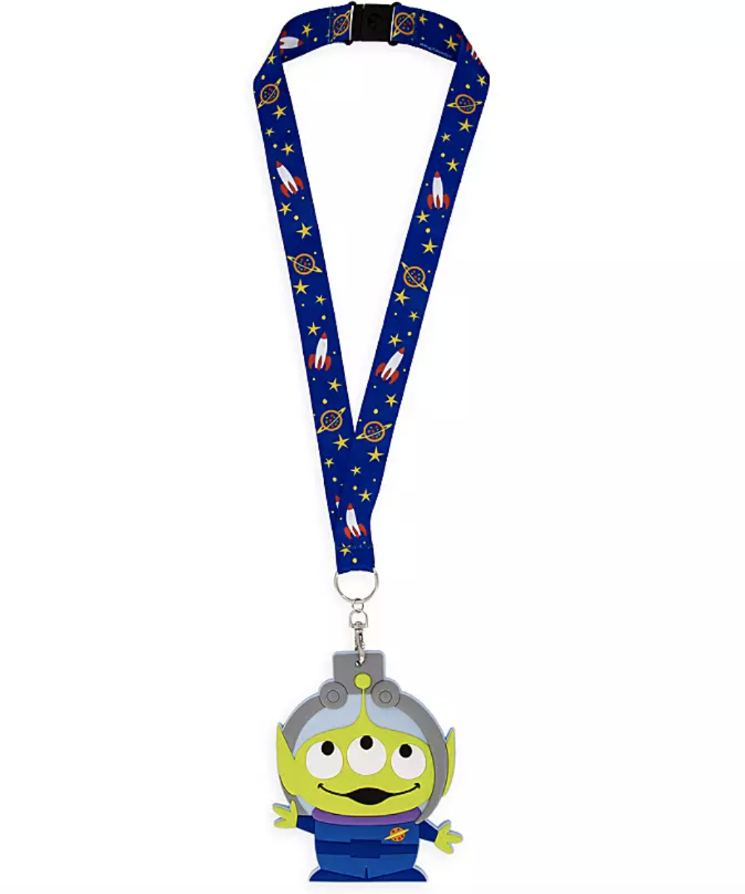 a blue lanyard with space design on it and a rubberized toy story alien within the claw hanging from it