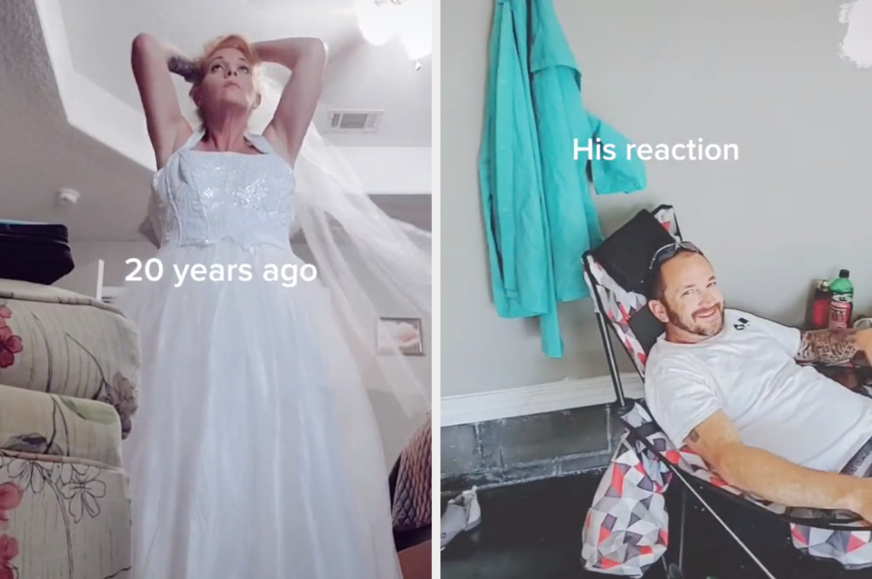 A TikToker puts on her wedding dress that she wore 20 years ago, and her husband smiles immediately when he sees her