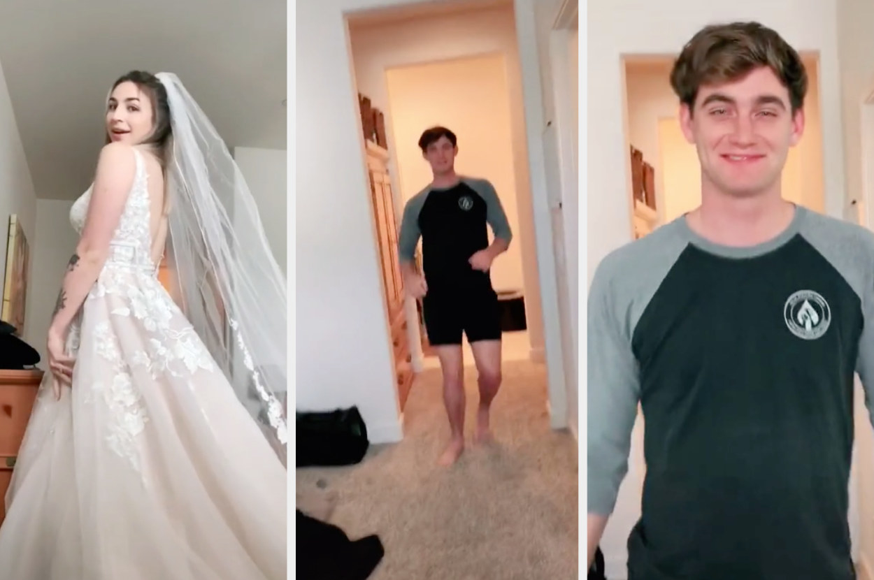 A TikToker puts on her wedding dress, her husband is at first startled and then happily walks towards her