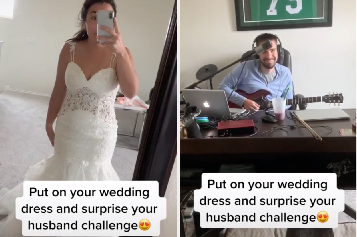 A TikToker puts on her wedding dress then walks in on her husband in a home office, and he lights up when he sees her