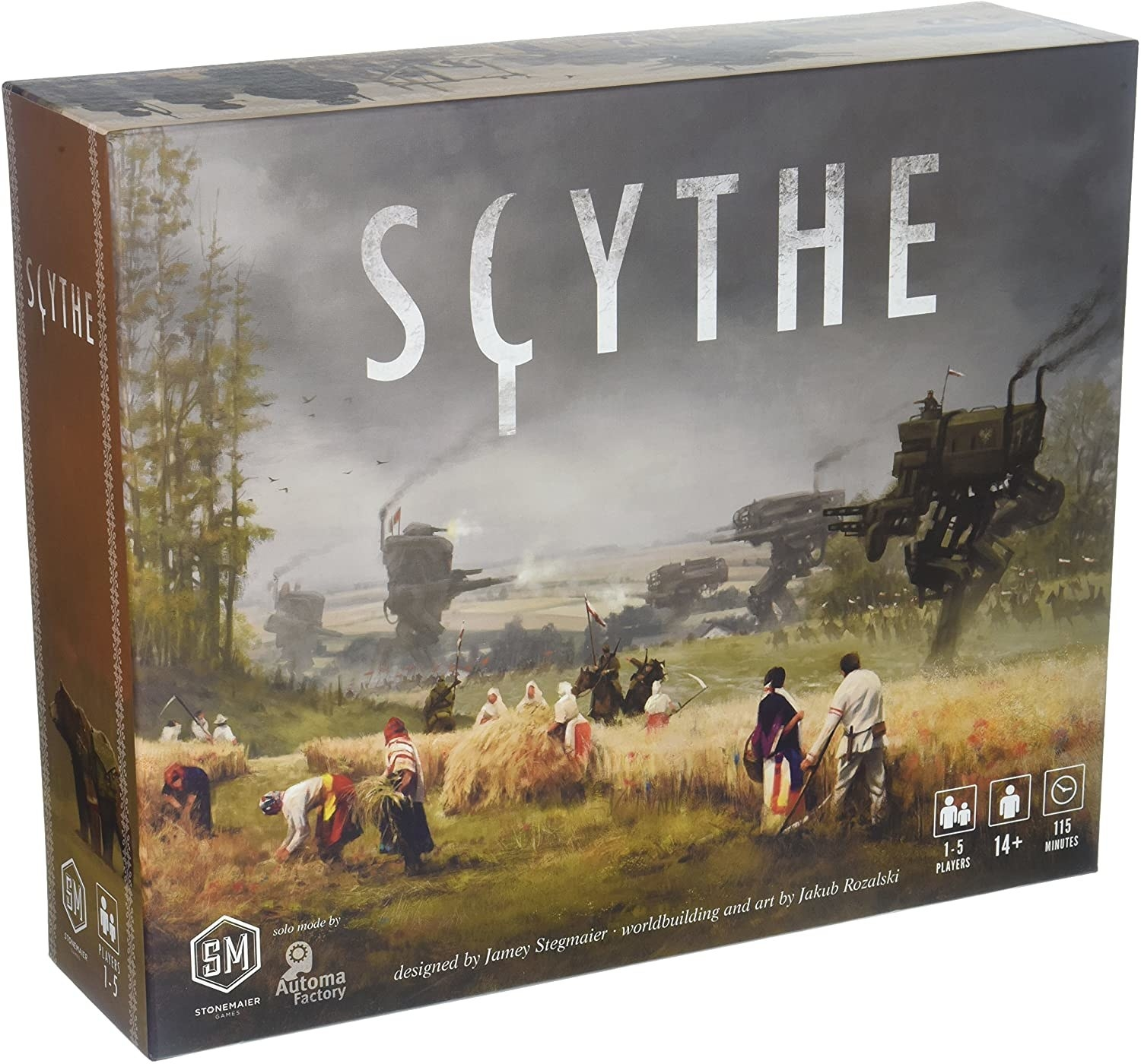 Scythe board game box with steampunk '20s-era war scene illustrated on front