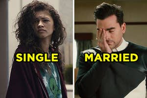 """On the left, Zendaya looks out a frowns as Rue on """"Euphoria,"""" and on the right, Dan Levy covers his eye with a hand in exasperation as David on """"Schitt's Creek"""""""
