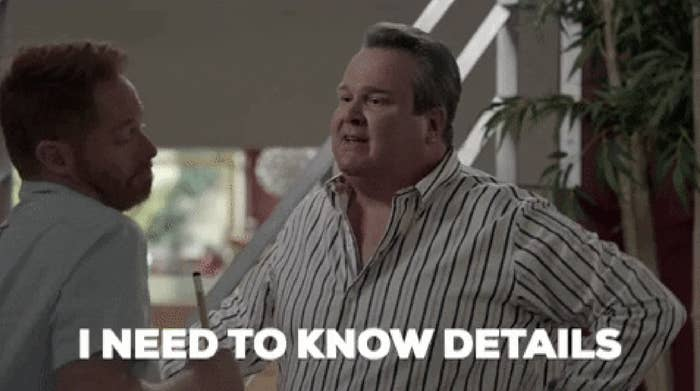 """Cameron from """"Modern Family"""" saying """"I need to know details."""""""