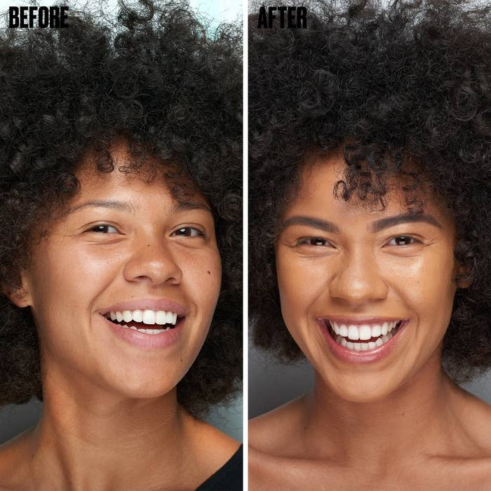 A before/after of a model with sparser eyebrows on the left, and filled-in, darker eyebrows on the right