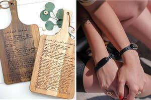 A recipe board and long distance touch bracelets