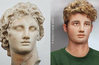 A contemporary sculpture of Alexander the Great and an artistic rendering of what he'd look like today