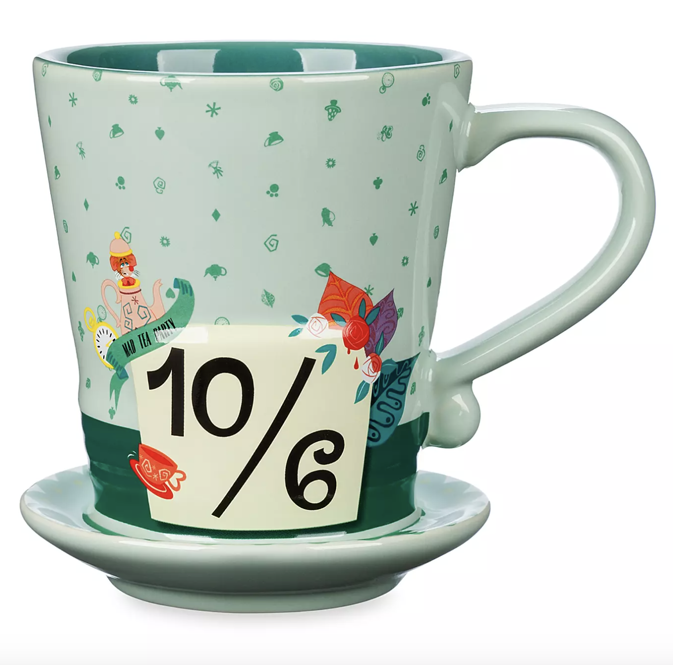 the mug, which is shades of green, has a sculpted hat-shaped design, screen art detailing, and contrast interior