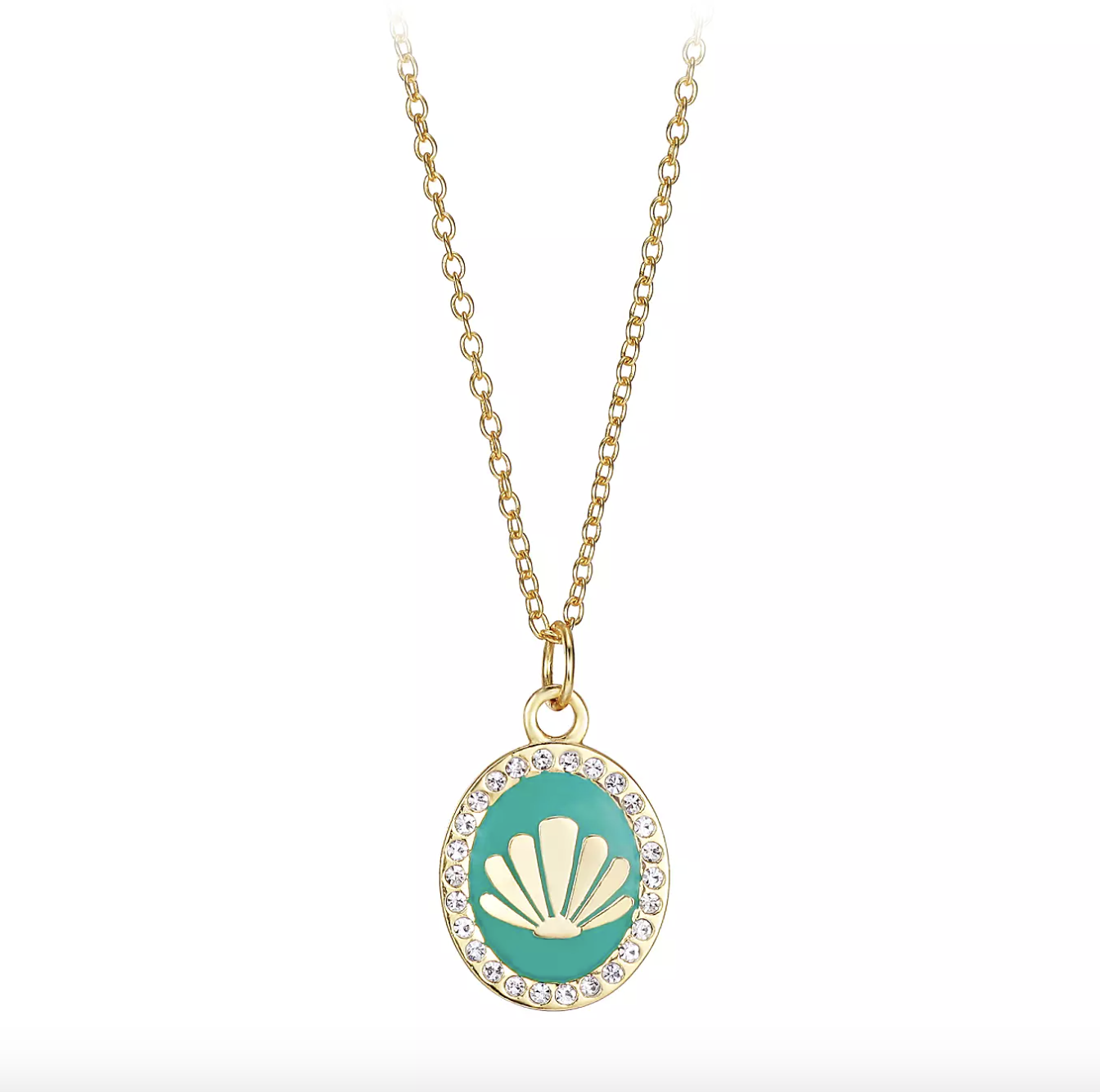 the gold necklace, which has a green enamel pendant with crystal accents and an embossed gold shell in the center