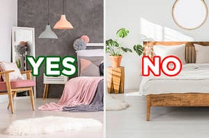 """On the left, a bright, fun bedroom with unique hanging light fixtures, a mirror, and a fluffy rug with """"yes"""" typed on top of it, and on the right, a minimalist, sunny bedroom with wooden furniture and plants and """"no"""" typed on top of it"""