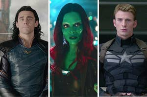 """On the far left, Tom Hiddleston as Loki in """"Thor Ragnarok"""", in the middle, Zoe Saldana as Gamora in """"Guardians of the Galaxy,"""" and on the right, Chris Evans as Captain America is """"Captain America: Winter Soldier"""""""
