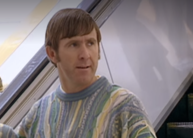 Character Kel Knight in a multi-coloured, hand knitted jumper